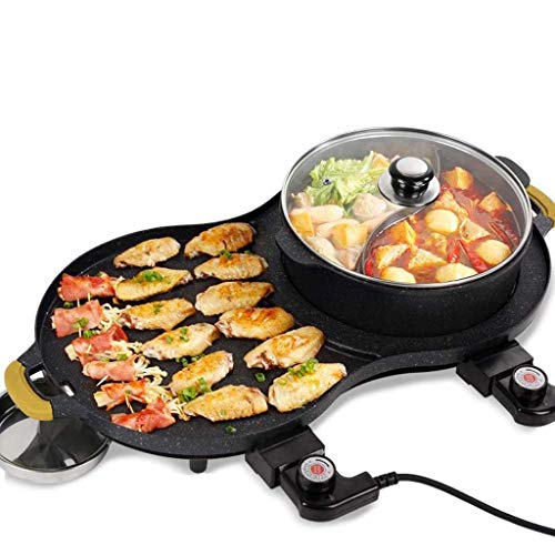 YFGQBCP Todo-en-uno barbacoa utensilios de cocina Pan eléctrico, multi-función Grill Cocinas antiadherente Hot Pot Appliance, estilo coreano Parrilla eléctrica Parrilla, Inicio Electricidad Horno Barb