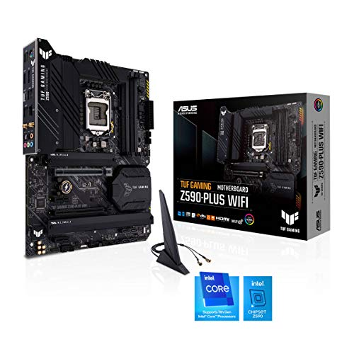ASUS TUF Gaming Z590-PLUS WiFi Mainboard Sockel Intel LGA 1200 (Intel Z590, ATX, PCIe 4.0, 3x M.2, USB 3.2 Gen 2x2, Thunderbolt 4, WiFi6, Aura Sync)