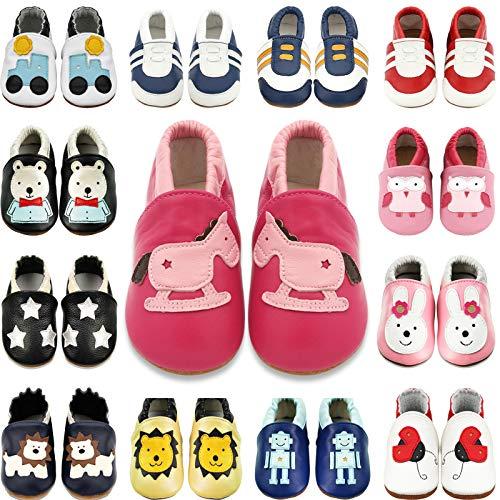 BAOLESEM Baby Lauflernschuhe Jungen Mädchen Weicher Leder Krabbelschuhe Kleinkind Babyhausschuhe,Pink Pferd,12-18 Monate