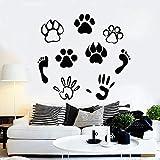 Etiqueta de la pared de la pata del animal doméstico huella humana impresión amigable animal vinilo etiqueta de la...