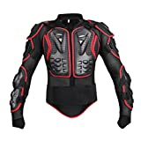 Dexinx Motorrad Radfahren Reiten Full Body Armor Rüstung Protector Professionelle Street Motocross Guard Shirt Jacke mit Rückenschutz Schwarz Rot M