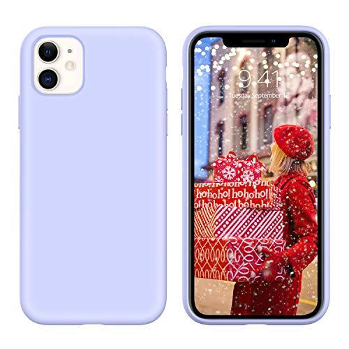 YINLAI iPhone 11 Case Liquid Silicone Slim Fit Soft Rubber Cover Shockproof Protective Non Slip Grip Hybrid Hard Back Bumper Durable Girls Women Phone Cases for iPhone 11 6.1 inch, Lavender/Purple