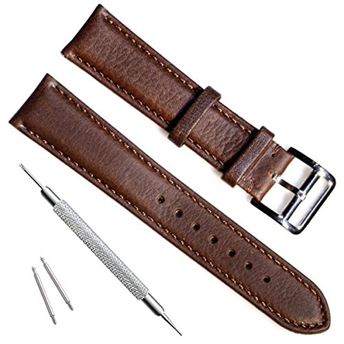Verde oliva 20mm a mano in pelle bovina vintage orologio da polso/Watch...