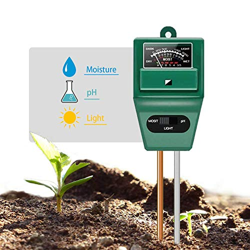 For Sale! Axwcon Soil pH Meter, 3-in-1 Soil Test Kit Moisture/Light/pH Tester Great for Gardening, F...