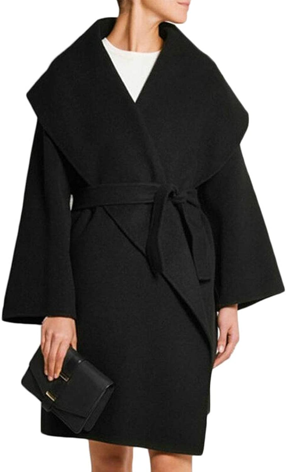 Esast Women Winter Fall Lapel Belted Long Wool Blend Pea Coats Jackets
