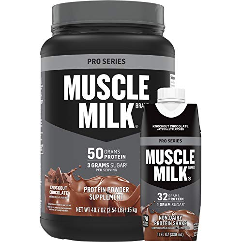 Muscle Milk Pro Series 50g Protein Powder Supplement and 32g Protein Shake Bundle Pack, Knockout Chocolate, 11oz Cartons (12 Pack) & 2.54lb Canister