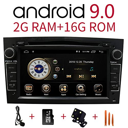 Autoradio in dash-navigatie voor Opel Vauxhall, Corsa, Vectra, Antara, Meriva, Astra, Vivaro, Zafira, 7 inch HD-touchscreen Android 9.0 2 DIN Bluetooth met achteruitrijcamera, 16 GB SD-kaart