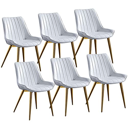 SFSGH Classic Set of 6 Nordic Luxurious Dining Chairs PU Leather Thicken Seat with Backrest Metal Legs Vintage Kitchen Chairs for Lounge Dining/Living/Cafe Reception Chair