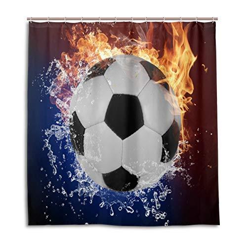 BIGJOKE Duschvorhang, Fußball-Muster, schimmelresistent, wasserdicht, Polyester, 12 Haken, 167,6 x 182,9 cm, Heimdekoration