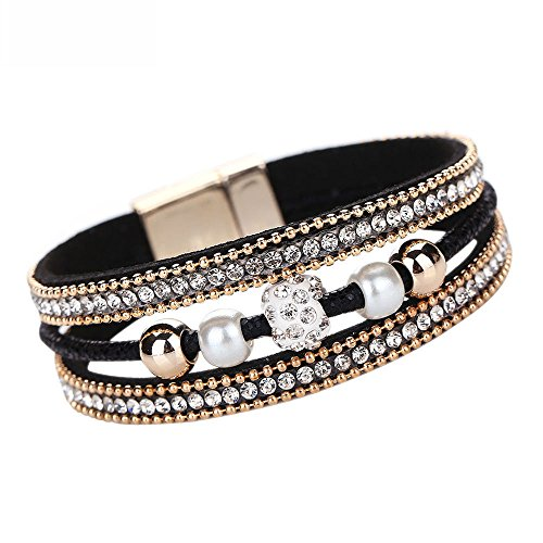 Leather Wrap Bracelets For Women Magnetic Clasp,Lanyun Multilayer Bangle Bracelet Crystal Beaded Wristband Buckle Gift Girl Multi-Layer Cuff Bohemian Multi Strands Handmade Wristbands Jewelry (Black)