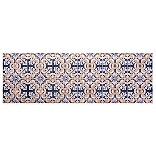 Baroni Tappetino Passatoia in Vinile da Cucina Decoro Maioliche Blu e Gialle 180x60 Cm in PVC Antiscivolo da Interno ed Esterno