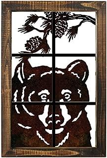 Metal Bear Head Wall Art Lazer Cut Out Wood Frame Large 20