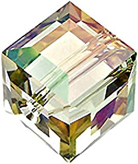 Wholesale Genuine Swarovski 5601 6mm Crystal Luminous Green Cube Beads, Choose Package Size (72)