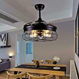 Ventilador de techo con iluminación y mando a distancia, ventilador industrial, semiflush, lámpara de techo, vintage, retro, antiguo, 5 luces, ventilador moderno