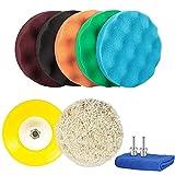 Almohadilla de Pulido Kit de almohadillas de pulido de automóviles de 6pcs de 6 pulgadas (5 fotografías de espuma y 1 máquina de agarre y 1polador de placa de respaldo de agarre y adaptador de perfora