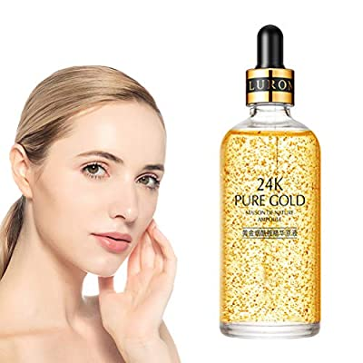 24k Gold Facial Skin Care Anti wrinkle Anti-Aging Face Essence Serum Cream, 50ml Moisturizing Nicotinamide Shrinking Pores Moisturizing Liquid for Brightening Skin and Pore Minimizing Liquid from LQMILK