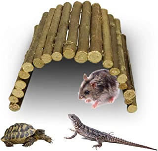 Aolvo Reptile Hide, Bendable Wooden Bridge Suspension Ladder Fence Toy, Reptile Amphibian Cave Hideout Aquarium Terrarium Habitat Hiding Spot for Turtle, Lizard, Snake, Syrian Hamster, Guinea Pig - L