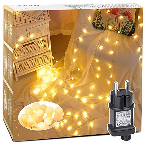 LED Lichterkette, BIGHOUSE 5M 50 LEDs Warmweiße Lichterkette Außen mit Stecker, 8 Modi, Merk Funktion, Wasserdichte IP44, Kugel Lichterkette für Innen/Außen Dekoration