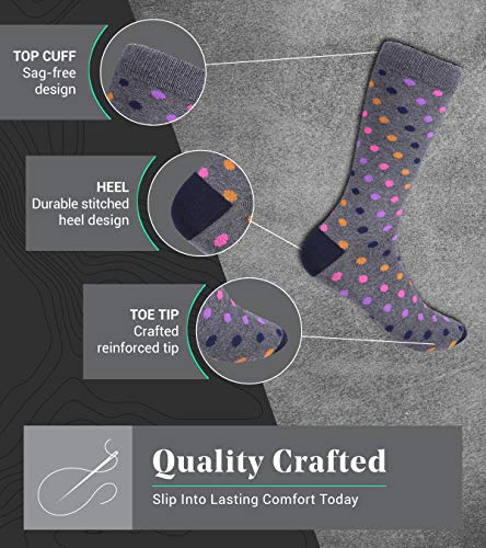 Marino Mens Dress Socks – Fun Colorful Socks for Men – Cotton Funky Socks – 6 Pack