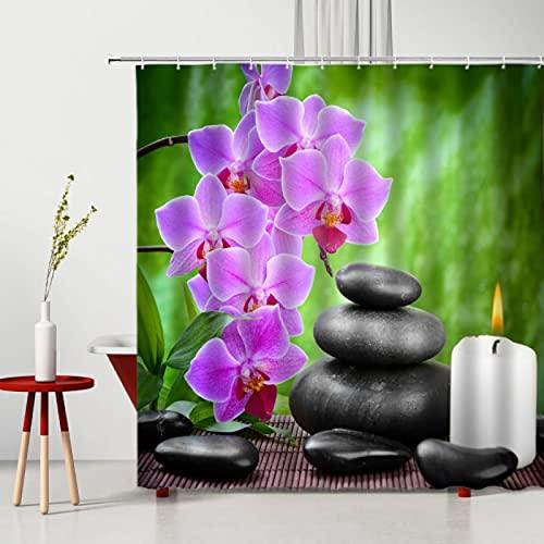 GermYan Fondo de fotografía de Tela de poliéster con Paisaje de concepción de Cortina de Ducha de Piedra de Flores púrpuras