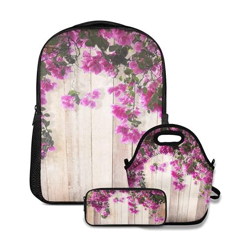 Conjunto de mochila escolar,Flor rosa flor de buganvilla con hojas sobre fondo de madera,con bolsa de almuerzo y estuche para lápices para mochila para adolescentes