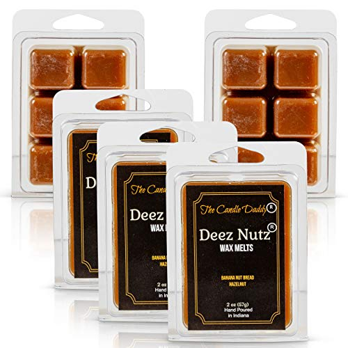 The Candle Daddy Deez Nutz- Banana Nut Bread- Maximum Scent Wax Cubes/Melts- 5 Packs -10 Ounces Total- 30