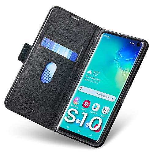 Aunote Samsung Galaxy S10 Hülle, Galaxy S10 Schutzhülle mit Kartenfach, Handyhülle Tasche, Leder Etui Folio Flip Cover Hülle, PU TPU Klapphülle Komplettschutz Samsung S10 6.1 Zoll Phone. Schwarz