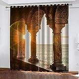 YTSDBB Cortinas Dormitorio Puesta de sol columna romana paisaje marino Ancho 183 x Altura 160 cm Salón Dormitorio Opacas...
