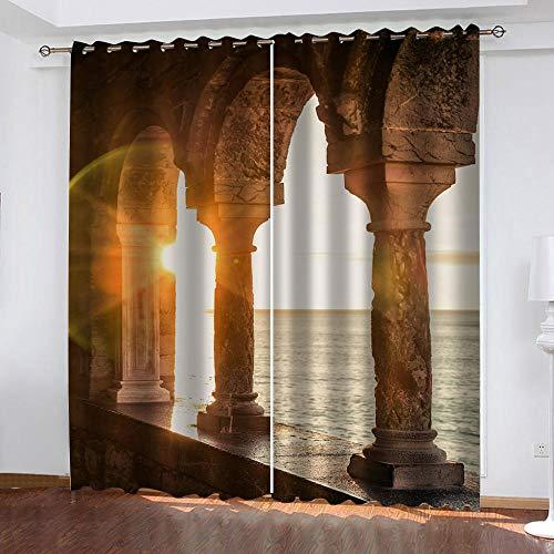 YTSDBB Cortinas Dormitorio Puesta de sol columna romana...