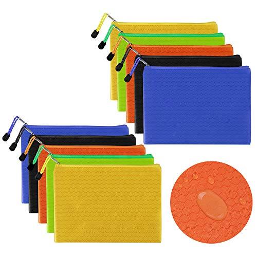 10 Pezzi Borse di File con Cerniera Sacchetti di Archiviazione a Rete Sacchetto del Documento Cartelle di File A5 Organizzatore di Documenti Tascabili per Ufficio Cosmetico Ricevuta di Archiviazione