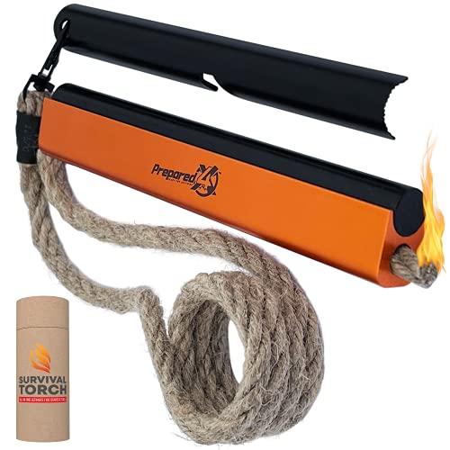Survival Gear Fire Starter – 6 x 1/2' Military Grade Ferro Rods, Flint and Steel – Water Resistant 36' Hemp Rope Wick – Emergency Kit, Survival Kits, Survival Tools