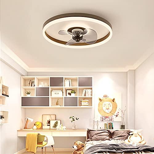 Ventilador Techo Led Y Mando a Distancia Lampara Ventilador Ultra Silencioso Iluminacion Led Plafón Led Regulable Iluminación Interior 3 Velocidades Lámparas Colgantes, Para Dormitorio Salon,Marrón