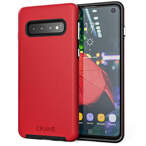 Crave Dual Guard for Samsung Galaxy S10 Case, Shockproof Protection Dual Layer Case for Samsung Galaxy S10 - Red