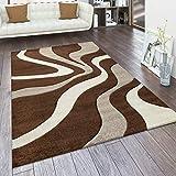 Paco Home Alfombra De Diseño Perfilado - Estampado De Ondas - Marrón Beige Crema, tamaño:160x230 cm