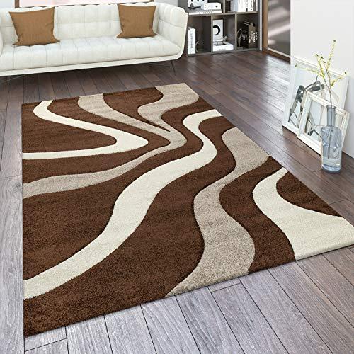 Paco Home Designer Teppich mit Konturenschnitt Wellen Muster Braun Beige Creme, Grösse:160x230 cm