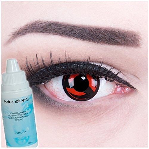 Meralens Eternal Kakashi Kontaktlinsen mit Pflegemittel ohne Stärke. Ideal für Halloween, Fasching und auf Partys 1er Pack (1 x 2 Stück)
