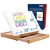 U.S. Art Supply Super Solana Extra Large Adjustable Wood Desk Table Easel with...