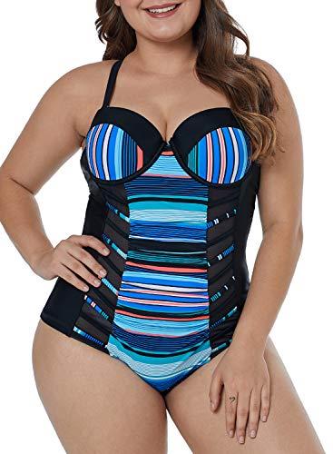 LALAGEN Women's Ruched Slim Fit Plus Size One Piece Monokini Swimsuit Blue Stripe XXXL