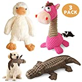 KONKY Squeaky Dog Toys Set, 3 Packs Durable Dog Plush Toy Chew Toys Dog Companion - Various Animals Shapes Training Toy for Puppy Small Medium Large Dogs (Duck, Horse and Crocodile)