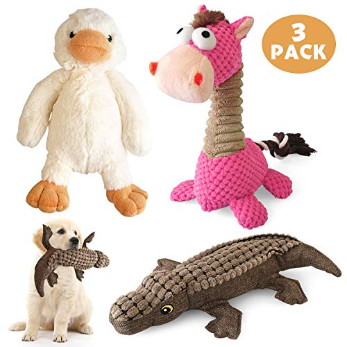 KONKY Squeaky Dog Toys Set, 3 Packs Durable Dog Plush Toy Chew Toys - Various Animals Shapes Training Toy for Puppy Small Medium Large Dogs (Duck, Horse and Crocodile)