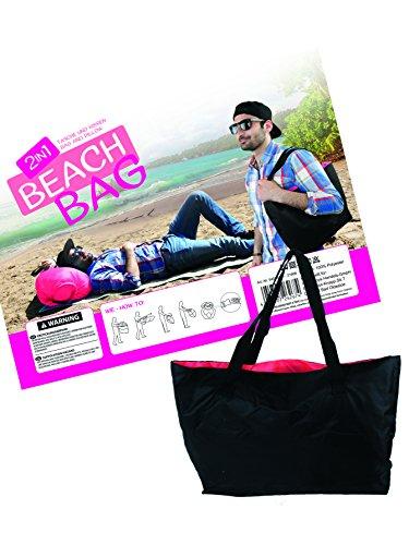 MIK funshopping strandtas 2-in-1 kussen Beach Bag zwart roze opblaasbaar