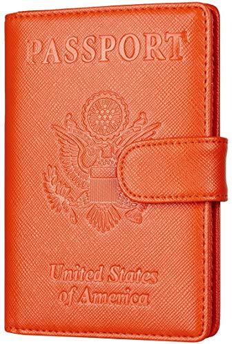 Toughergun Leather Passport Holder Wallet Cover Case RFID Blocking Travel Wallet (crosshatch orange buckled)