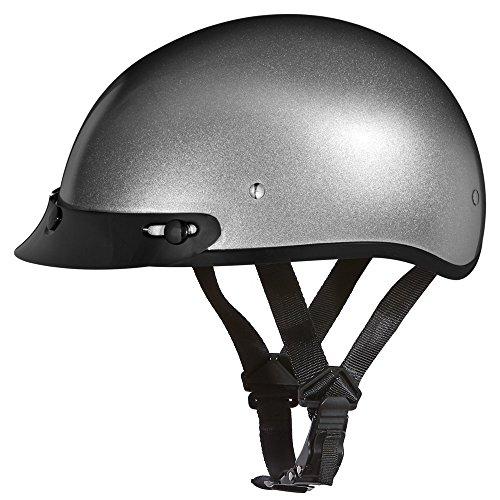 Daytona Helmets Motorcycle Half Helmet Skull Cap- Silver Metallic 100% DOT Approved