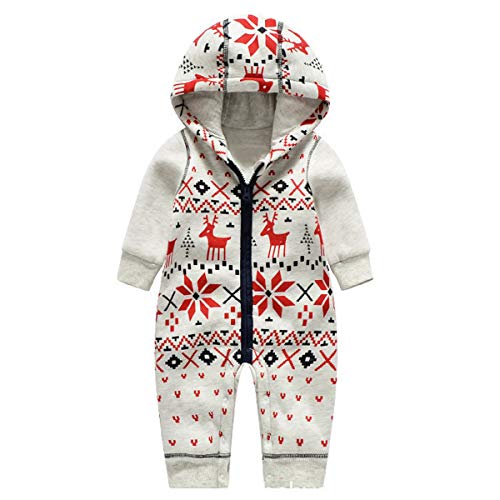 Bebone Baby Weihnachtspullover Jungen Strampler Mädchen Overall (9-12 Monate/73cm, Rentier)