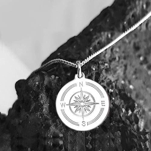 Kompass Kette, Koordinaten, Text - Gravur, 925 Silber, Runder Anhänger Windrose