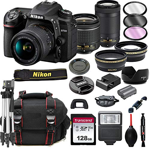 Nikon D7500 DSLR Camera with 18-55mm VR and 70-300mm Lenses + 128GB Card, Tripod, Flash, ALS Variety Lens Cloth, and More