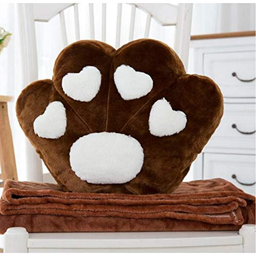 Plush Love Heart Dog Paw Dollss Plush Toy, Cartoon Pillow Cushion Air-Condition Blanket, Birthday Present Kids Gifts 38X32Cm (Brown)