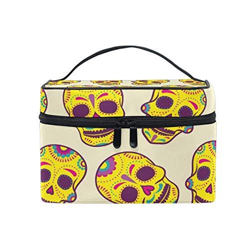 Bolsa de cosméticos de Viaje Halloween Sugar Skull ToiletryBolsa de Maquillaje Pouch Tote Case Organizer Storage For Women Girls