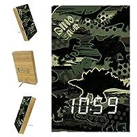ベッドルーム用デジタル目覚まし時計キッチンオフィス3アラーム設定ラジオウッドデスククロック-シームレスカモフラージュディノパターンプリント