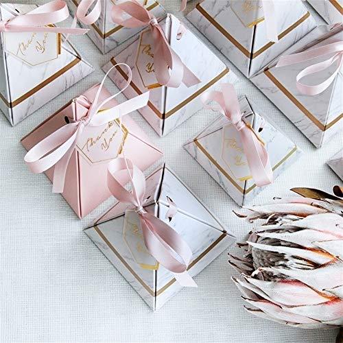 Suministros nueva pirámide triangular mármol caja del caramelo de favores y regalos de la boda cajas de bombones Caja Bomboniera sorteos Cajas Party ( Color : 20 PCS , Gift Box Size : 85x85x90mm )